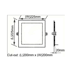 18watt square panel light for replace traditional down light