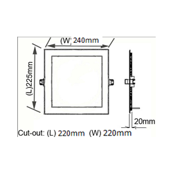 20watt square panel light for replace traditional down light